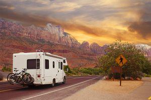 Motor home on the road, touring Utah, USA