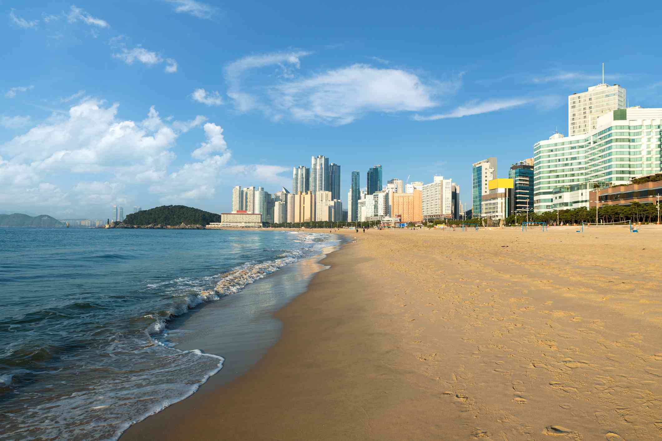 Haeundae beach in Busan, South Korea with no people and the city skyline in the background