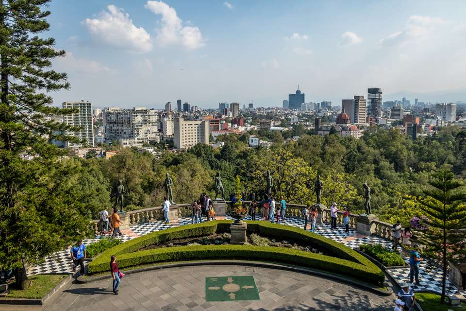 Chapultepec Castle Terrace Gardens View with city skyline