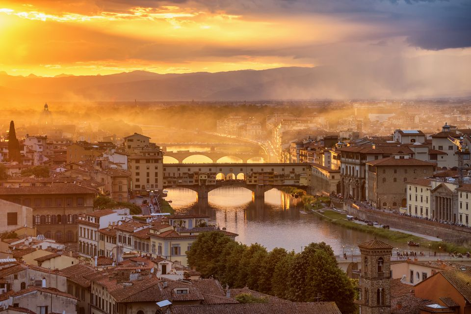 sunset landscape view of Cathedral of Santa Maria del Fiore (Duomo) and Vecchio palazzo, Florence, Italy