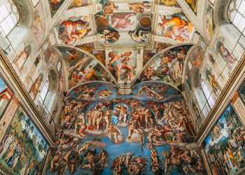 Low Angle View Of Mural In Sistine Chapel