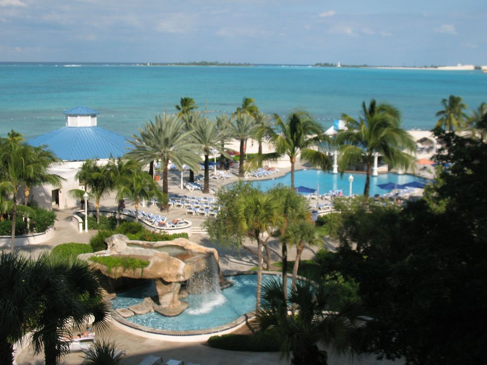 Swimming pools at the Sheraton Nassau Beach Resort at Cable Beach in Nassau, Bahamas.