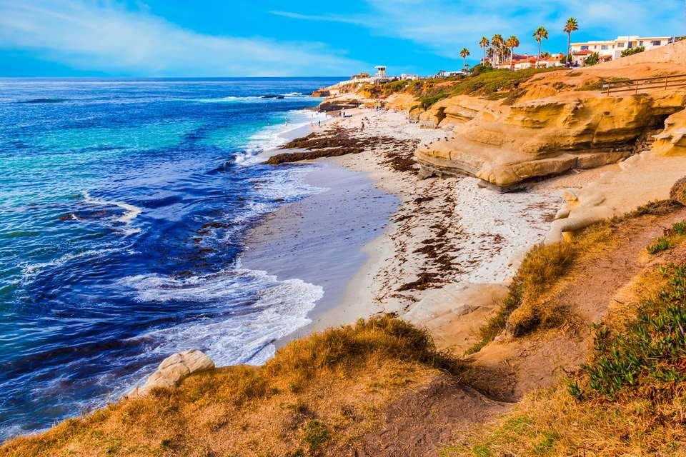 Rocky coastline at La Jolla in Southern California near San Diego