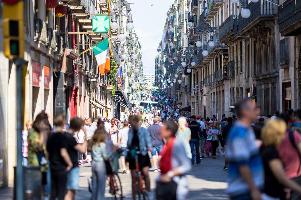 Las Ramblas scene at Barcelona close to Plaça de Catalunya, Spain