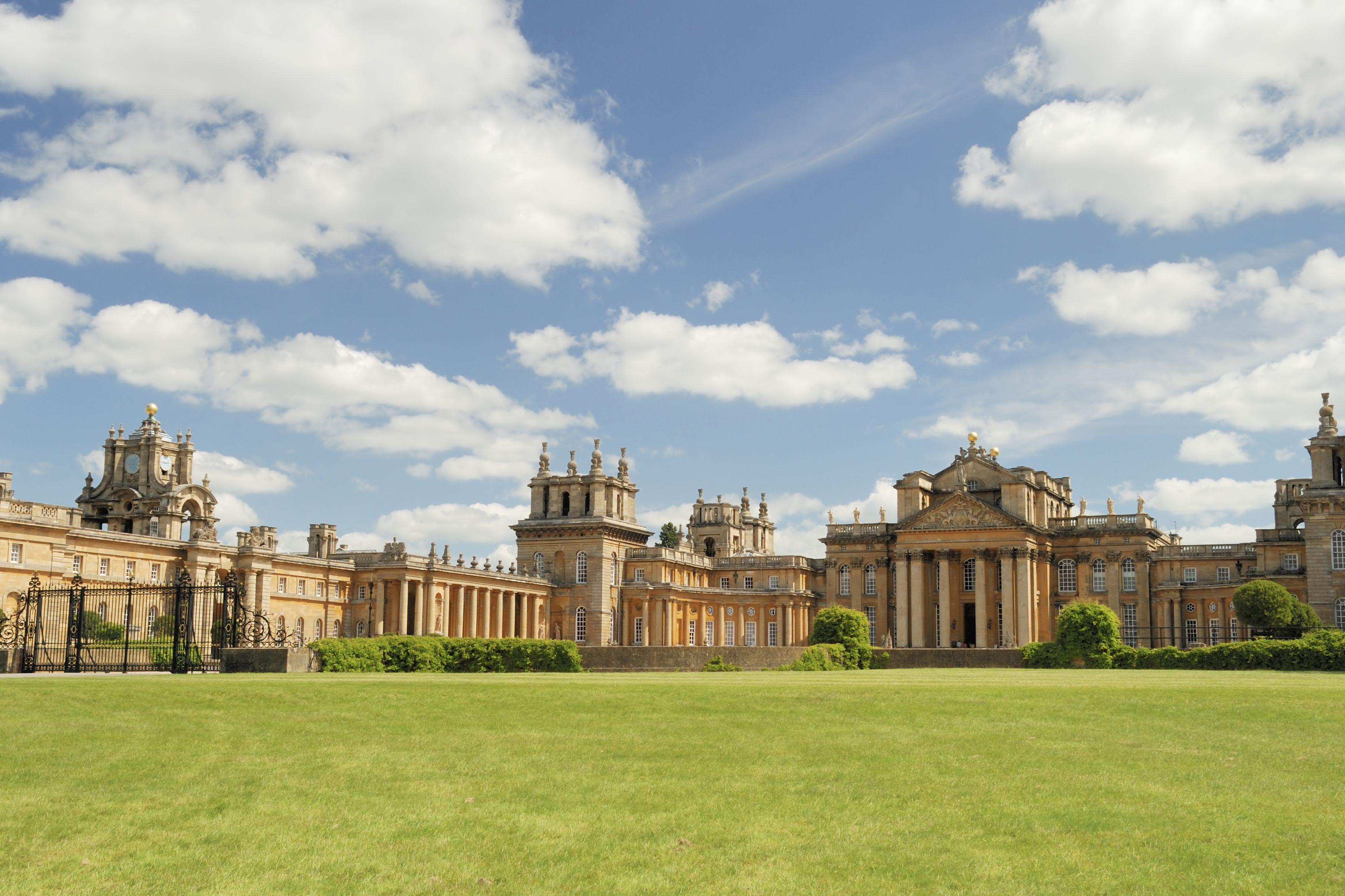 Blenheim Palace against blue skies