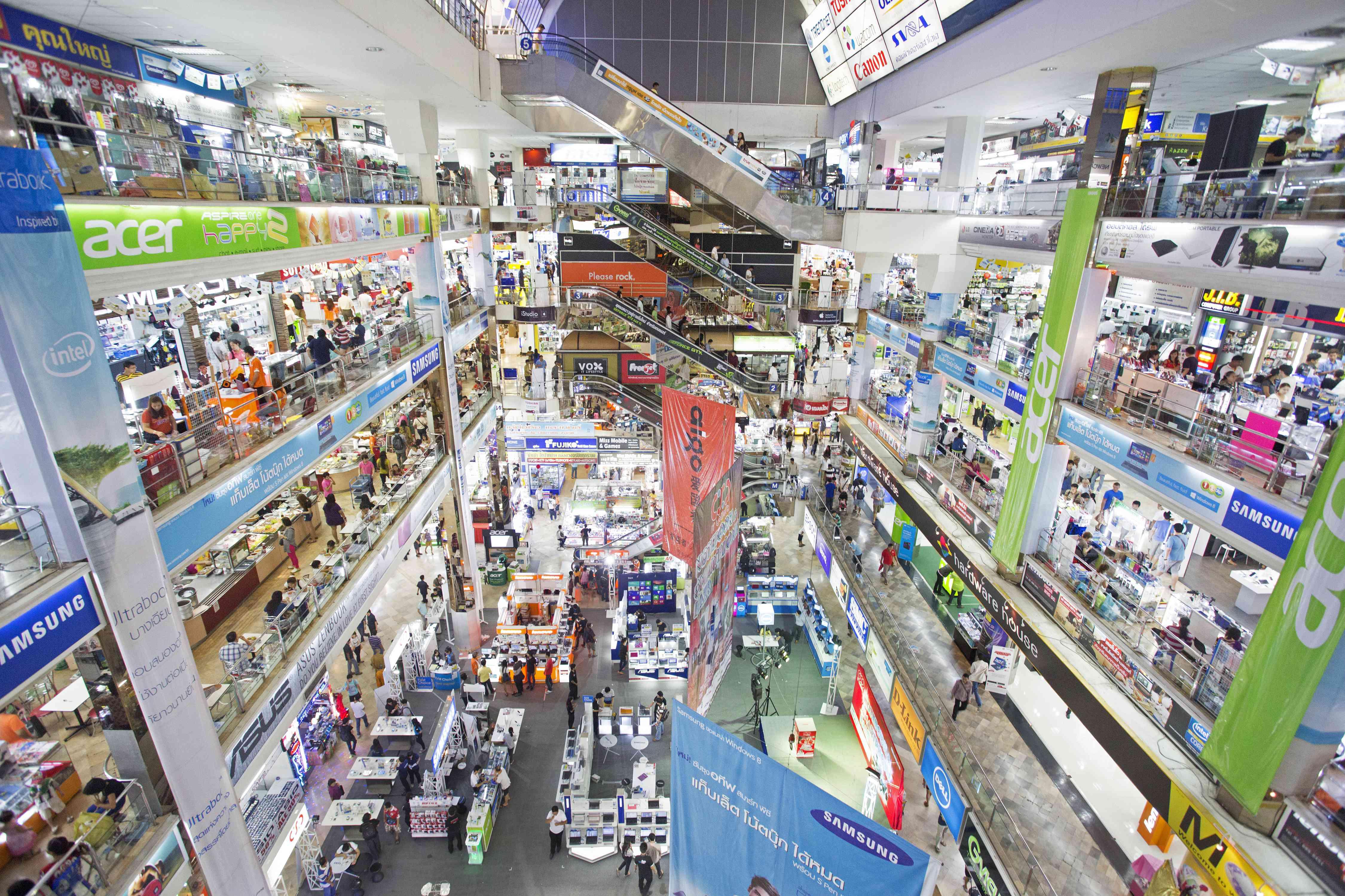 Inside of Pantip Plaza, a tech mall in Bangkok