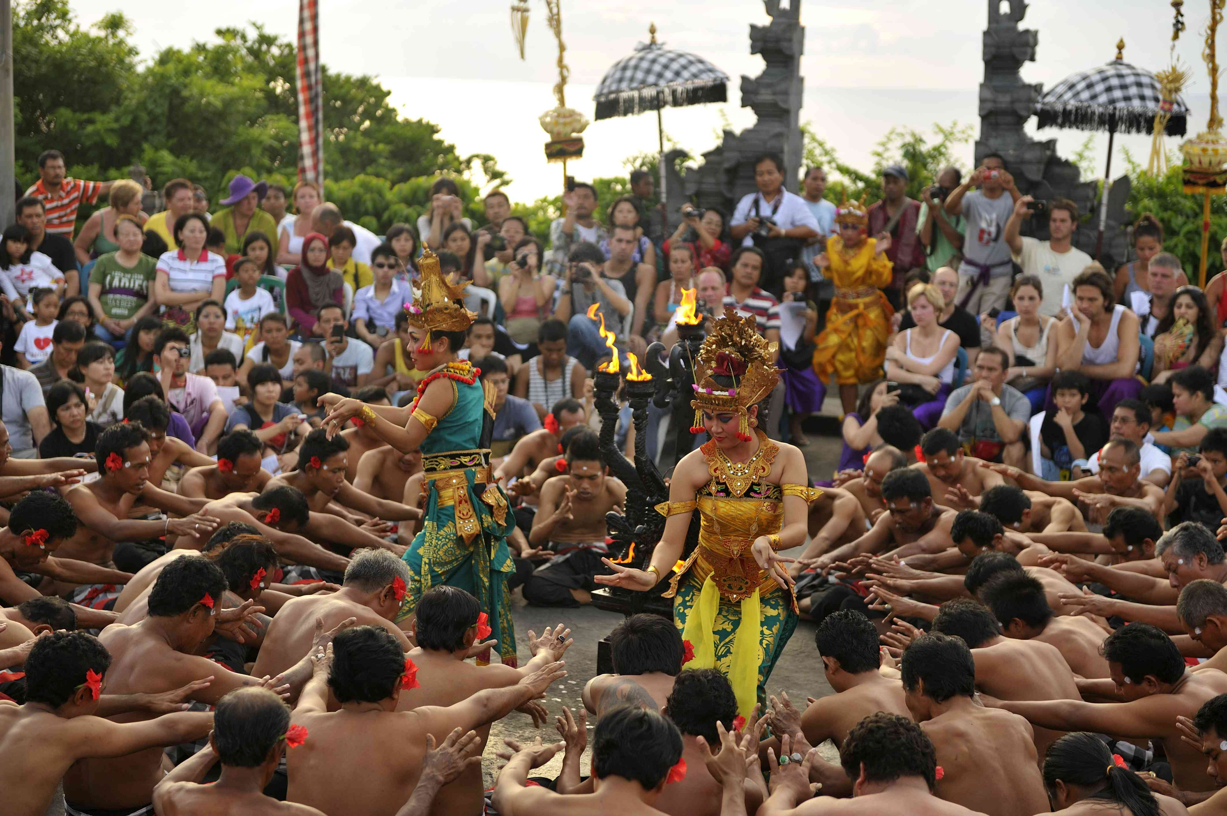 Kecak traditional dancers at Uluwatu in Bali