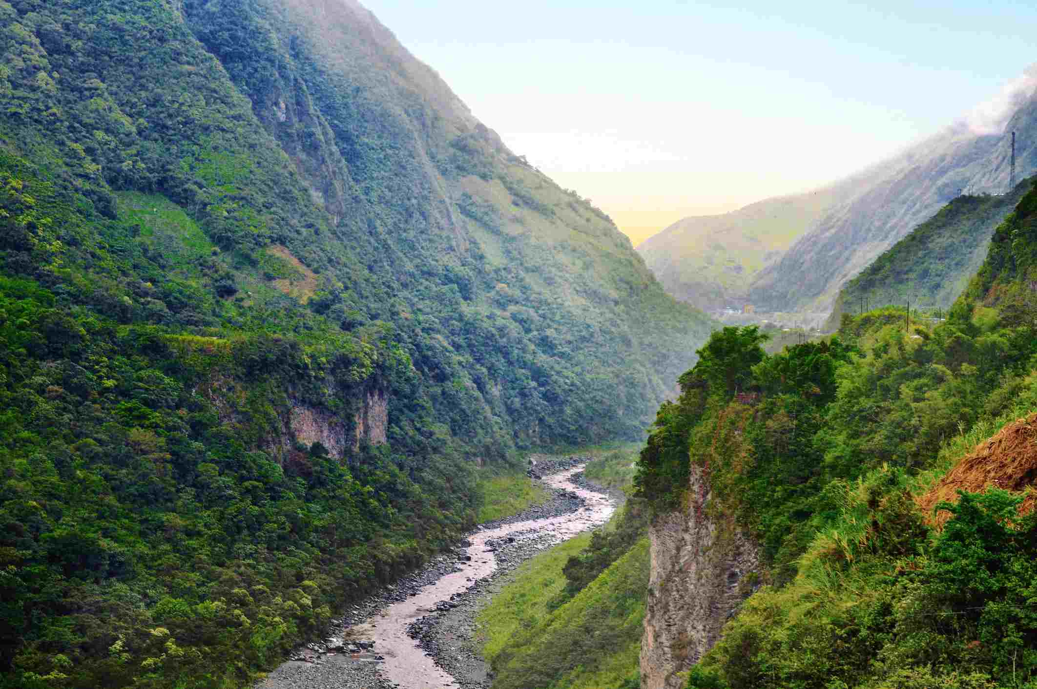Pastaza River and valley in Banos de Agua Santa