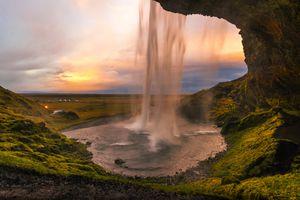 View of Iceland Seljalandsfoss Waterfall