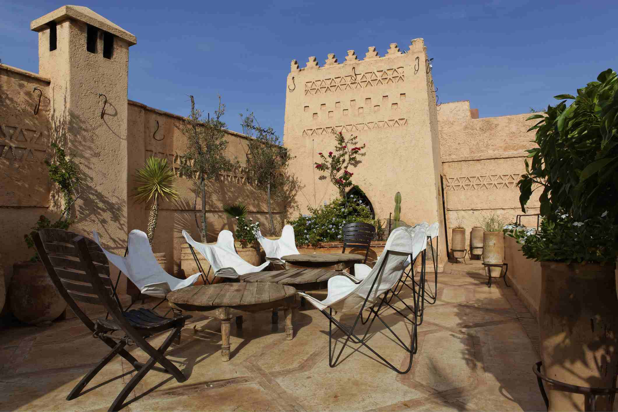 Rooftop terrace of a riad in Morocco
