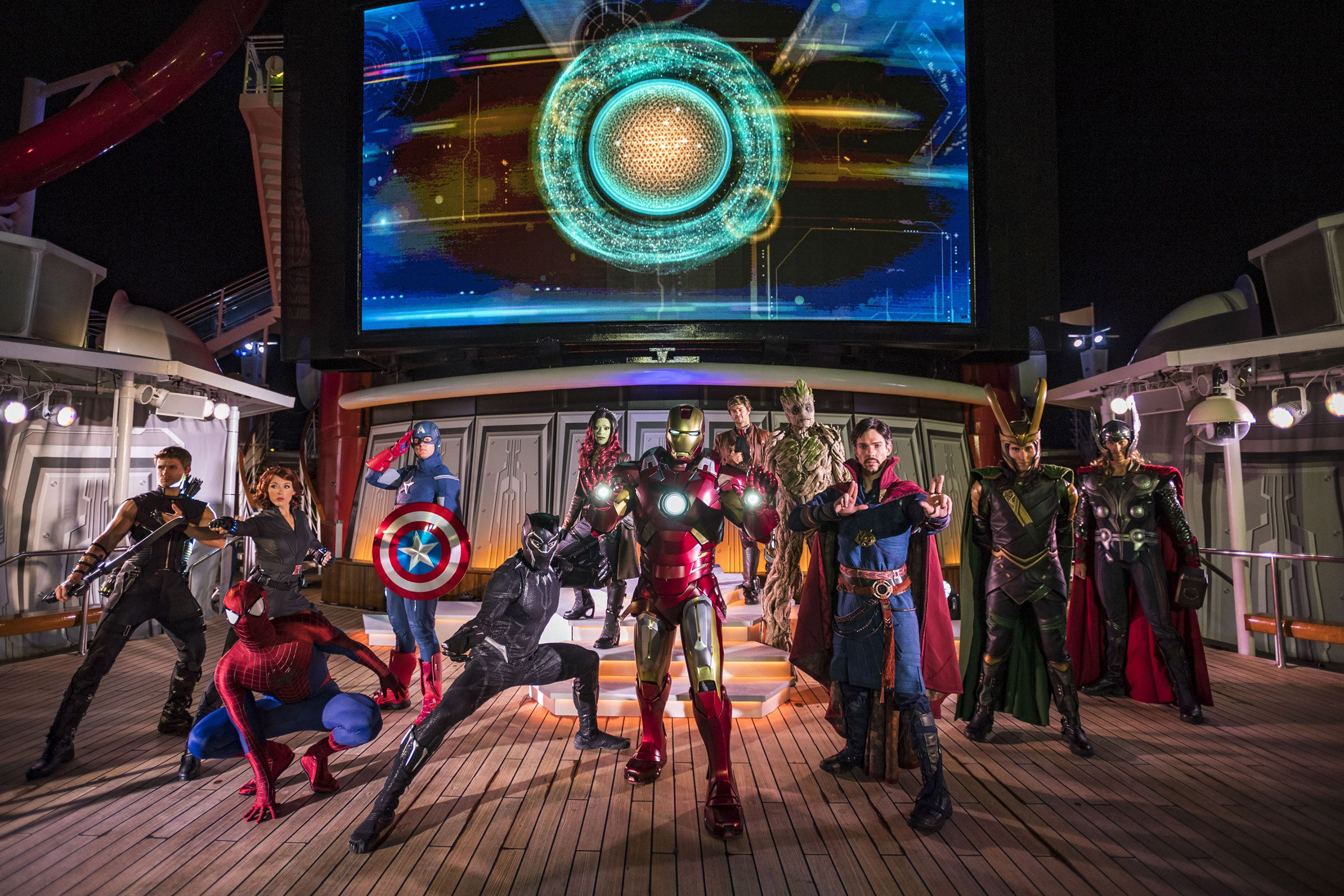 Superhero characters on the Disney Cruise