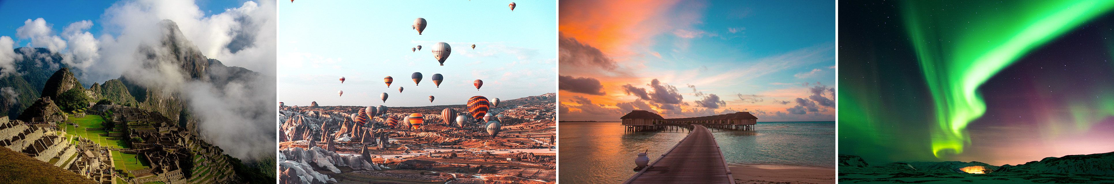 A collage of pictures including the northern lights, a hot air balloon festival, some over-water bungalows, and the ruins of an old village in a mountainside