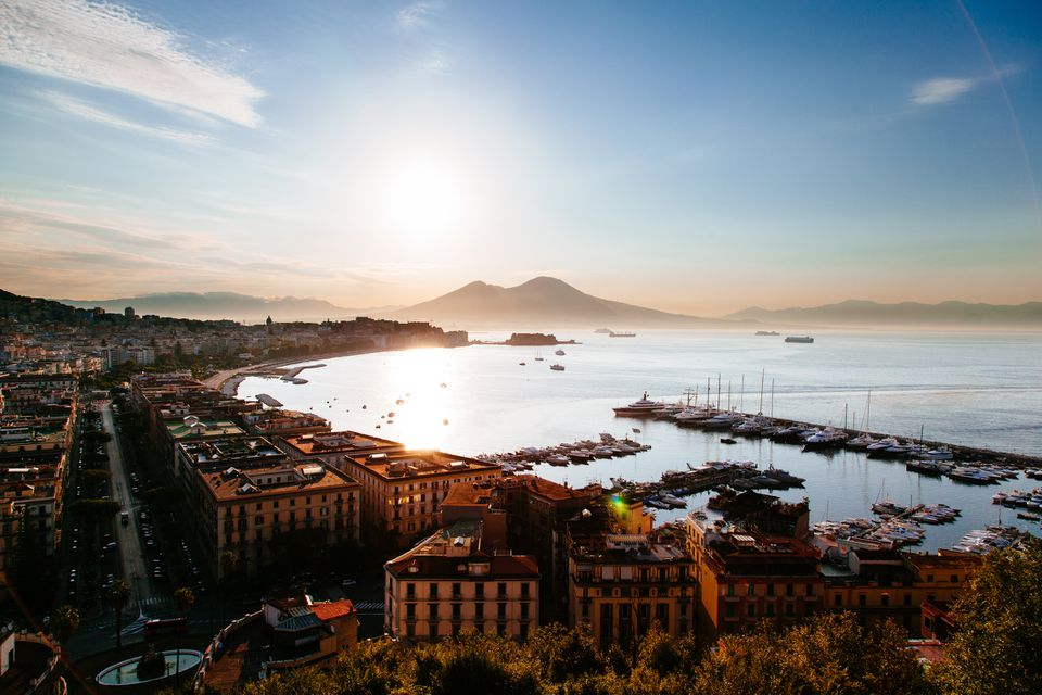 Sunrise on Naples seen from Sant'Antonio Balcony