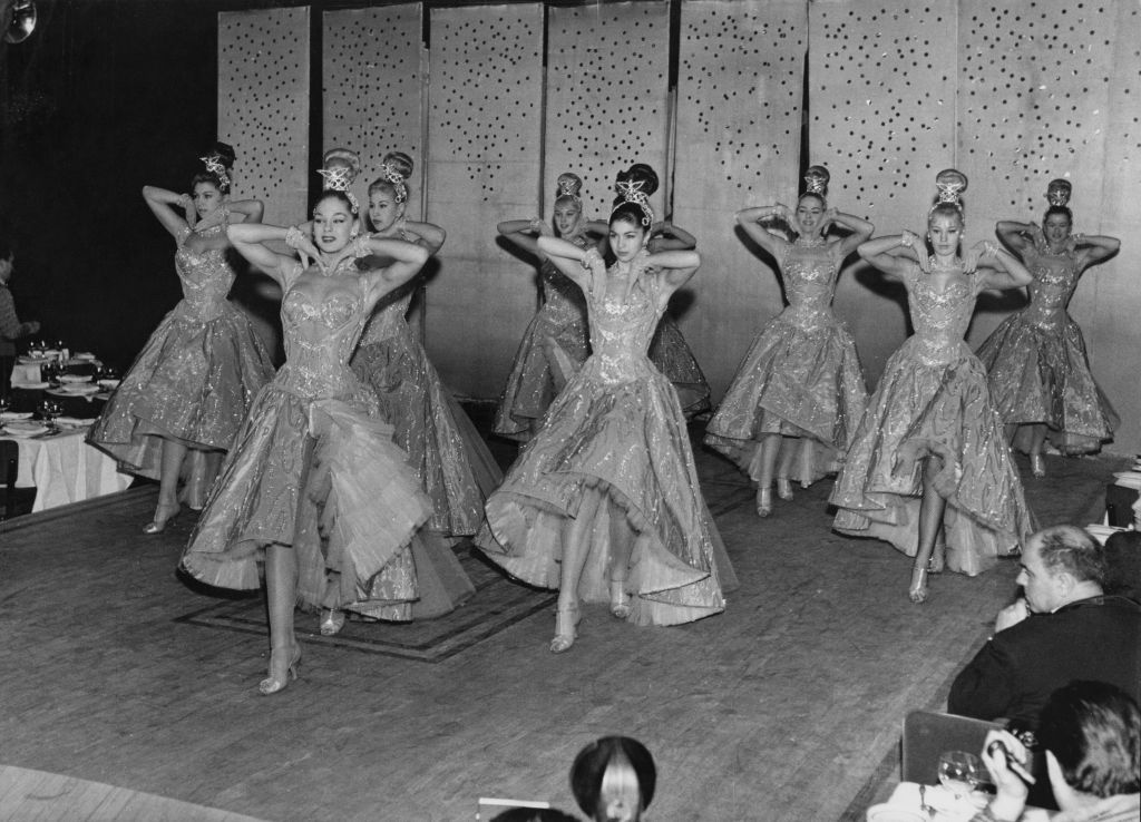 British dance troupe the Bluebell Girls appear on stage at the Lido in Paris, France, 1959