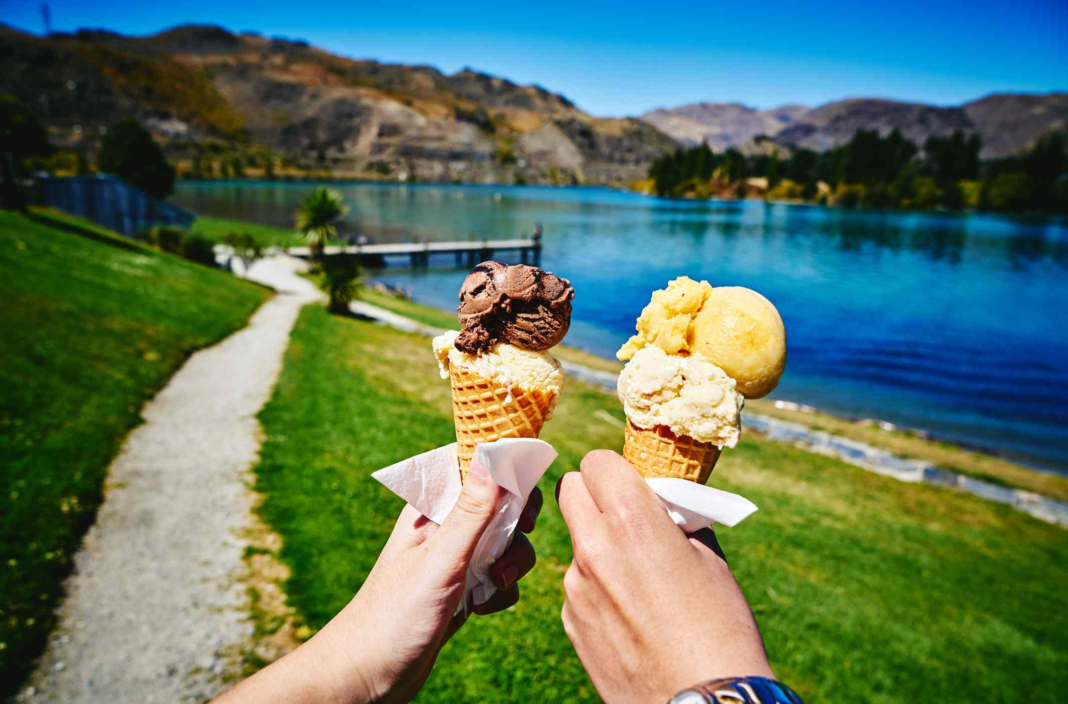 Holding Sweet Ice Cream Corn, Cromwell, New Zealand