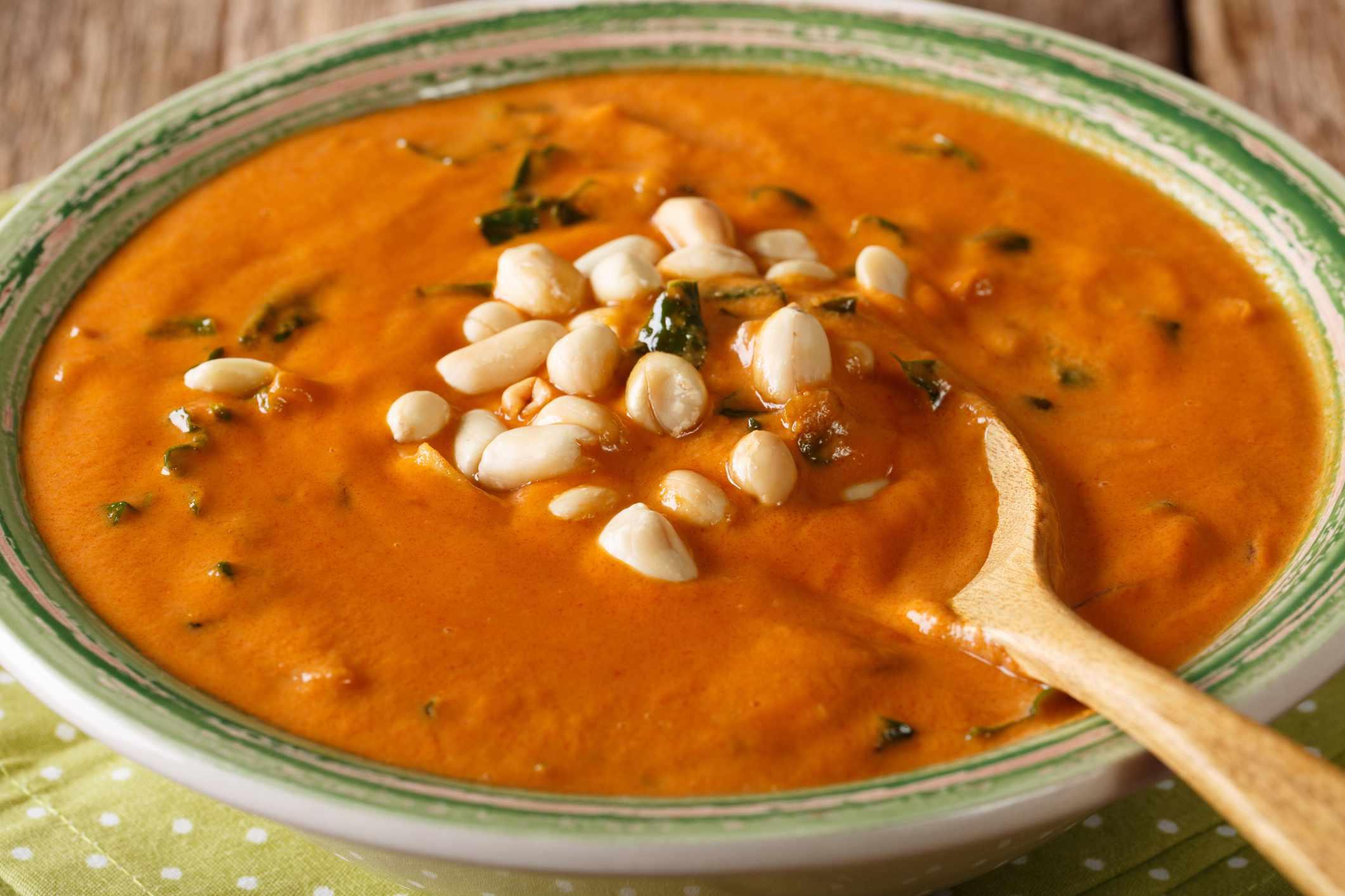 Homemade peanut cream soup close-up. horizontal