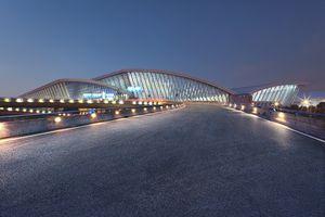 Shanghai Pudong International Airport at night,China - East Asia,