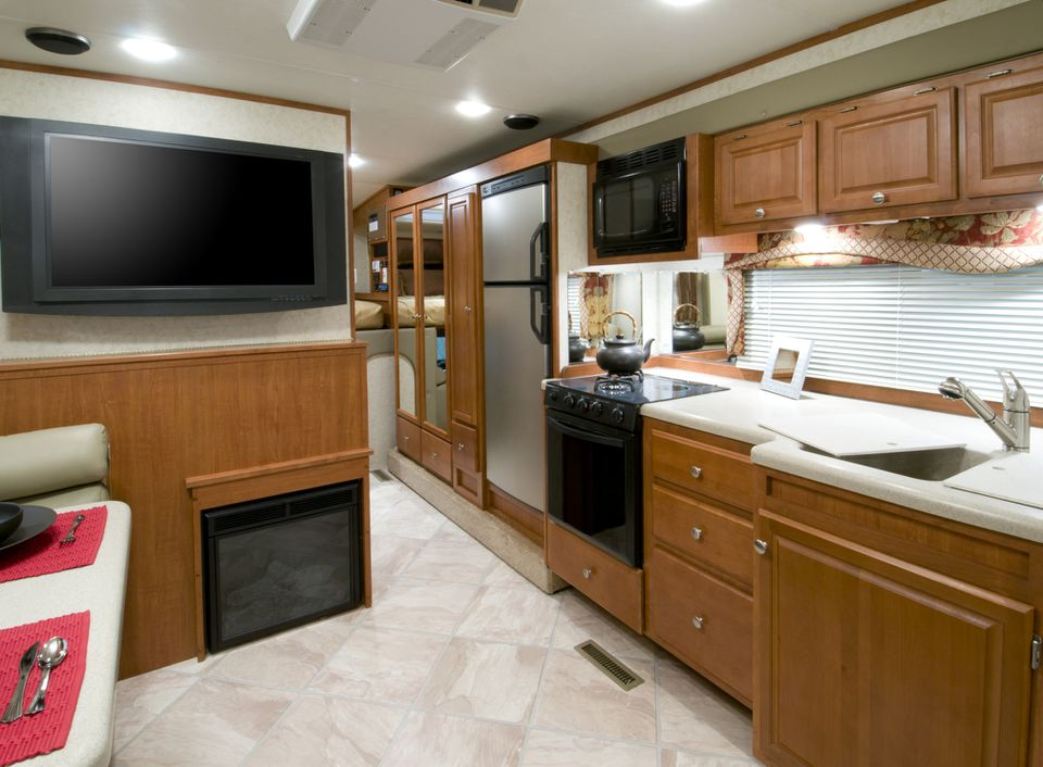 The kitchen area inside an RV