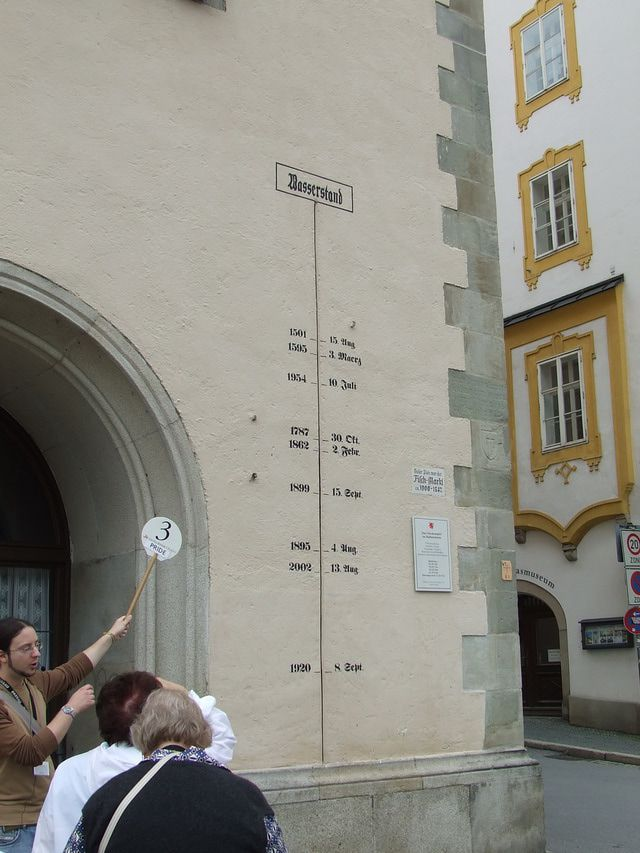Marker in Passau, Germany showing the high water points from various floods that have occurred