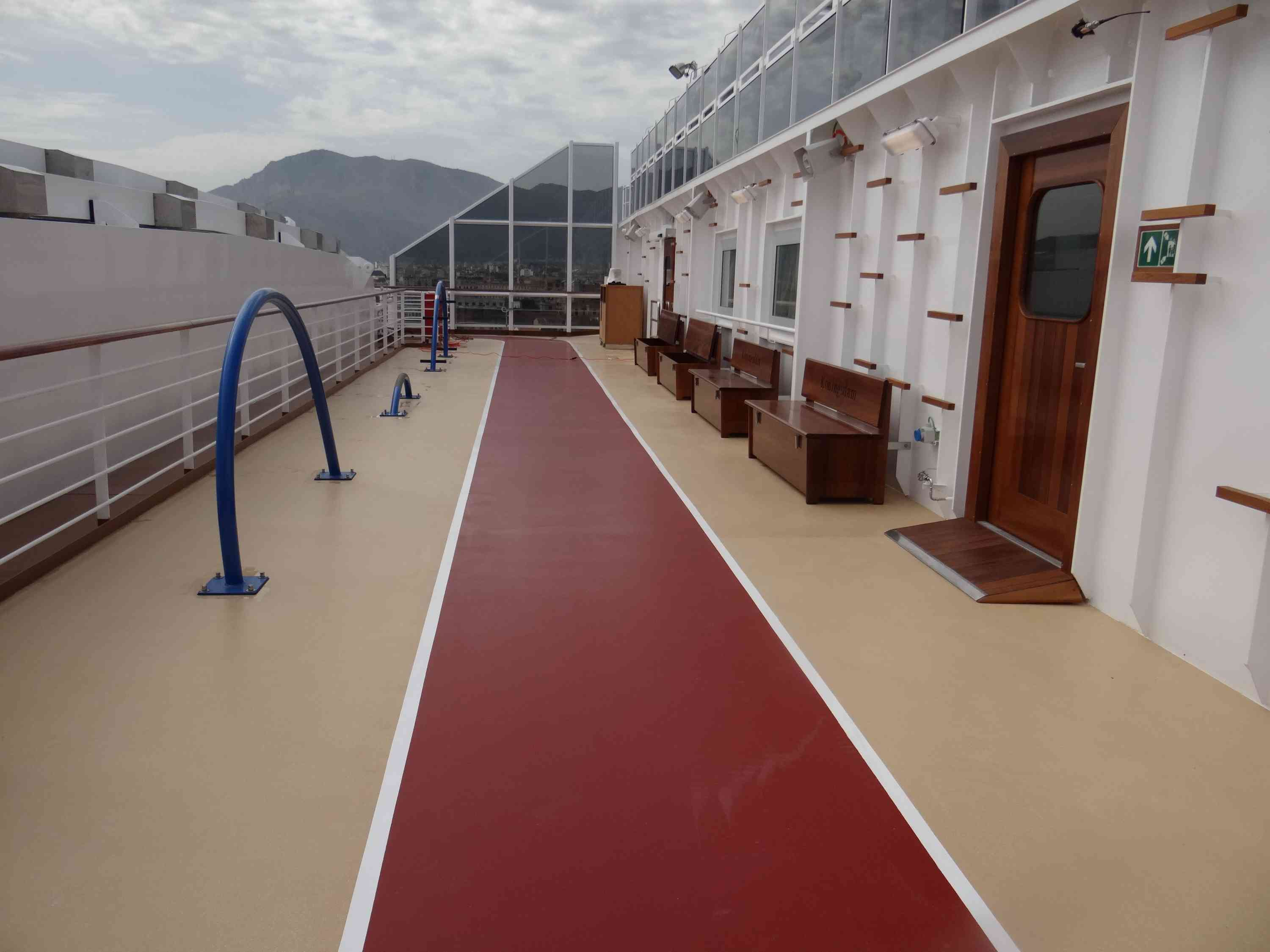 Outdoor jogging track on the Holland America Koningsdam cruise ship