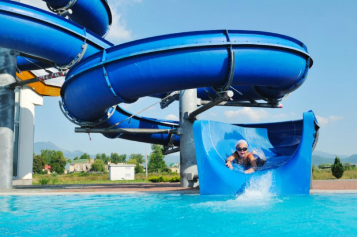 Waterslide with child sliding down
