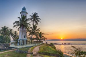 Galle Lighthouse at sunset with good weather in Sri Lanka