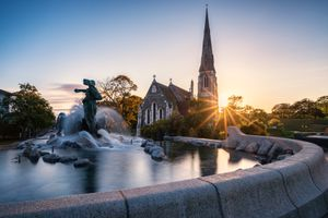 Gefion Fountain and St Alban's Church, Copenhagen, Denmark