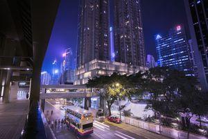 Wan Chai district, Hong Kong by night