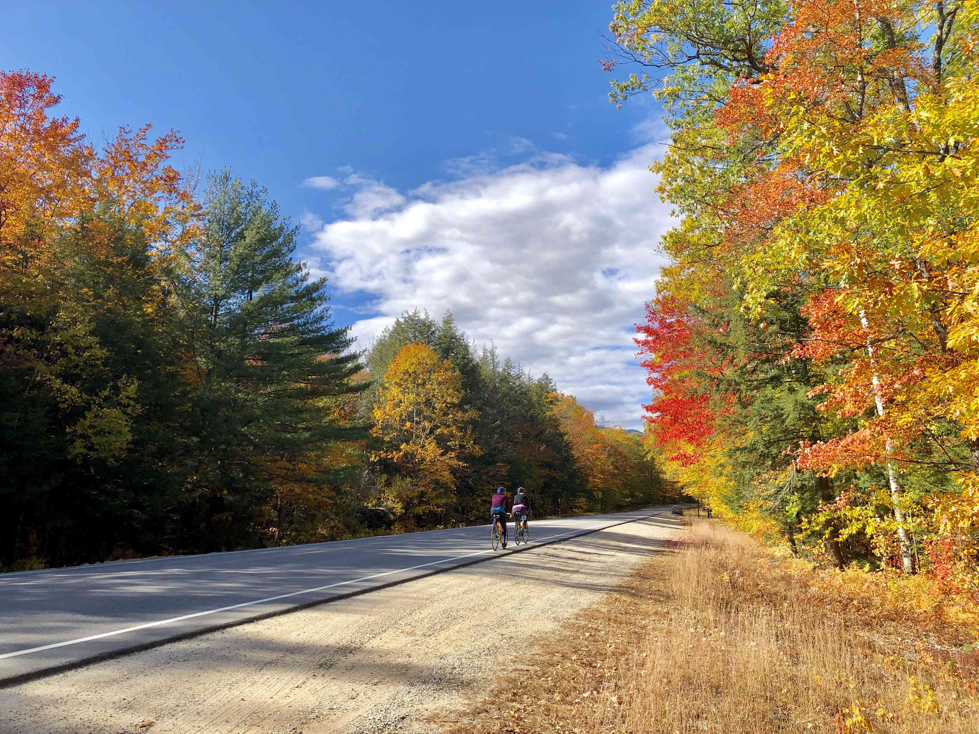 Cyclists on the Kancamagus Highway near Conway, New Hampshire