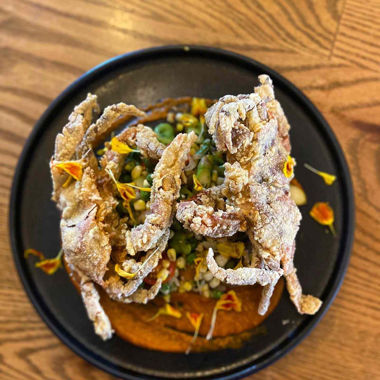 Crispy Soft Crabs with Succotash and Peanut Romesco