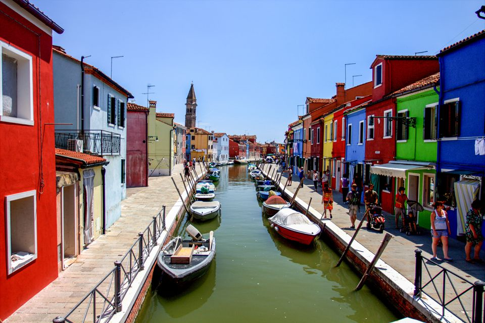 Colorful buildings along the canal in Burano, Italy