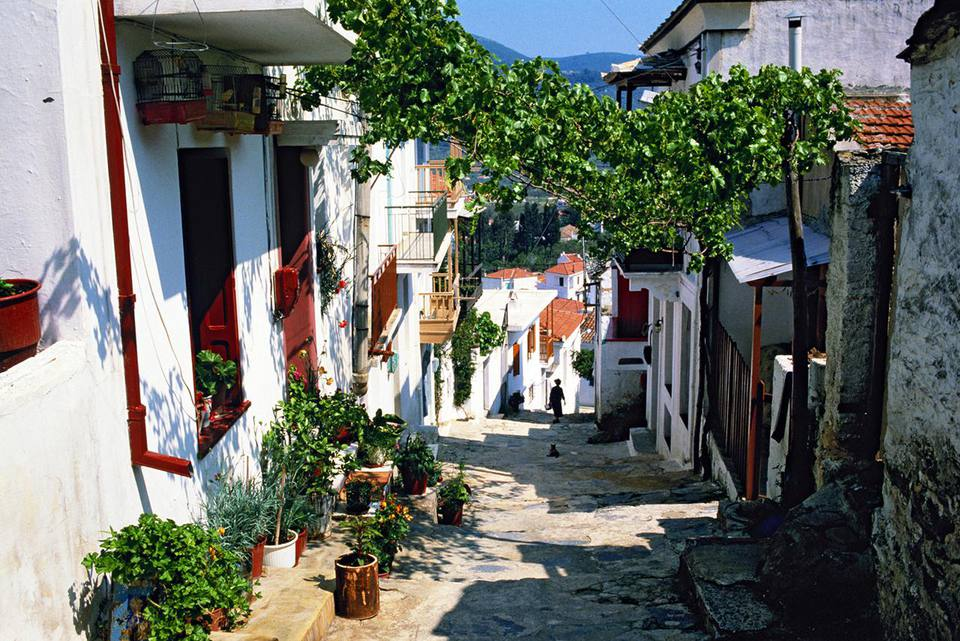 Greece, street in Skopelos