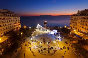 Aerial view at sunset of Aristotelous Square with Christmas tree and Christmas lights