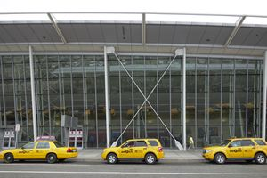 Taxis in line at JFK airport, NYC