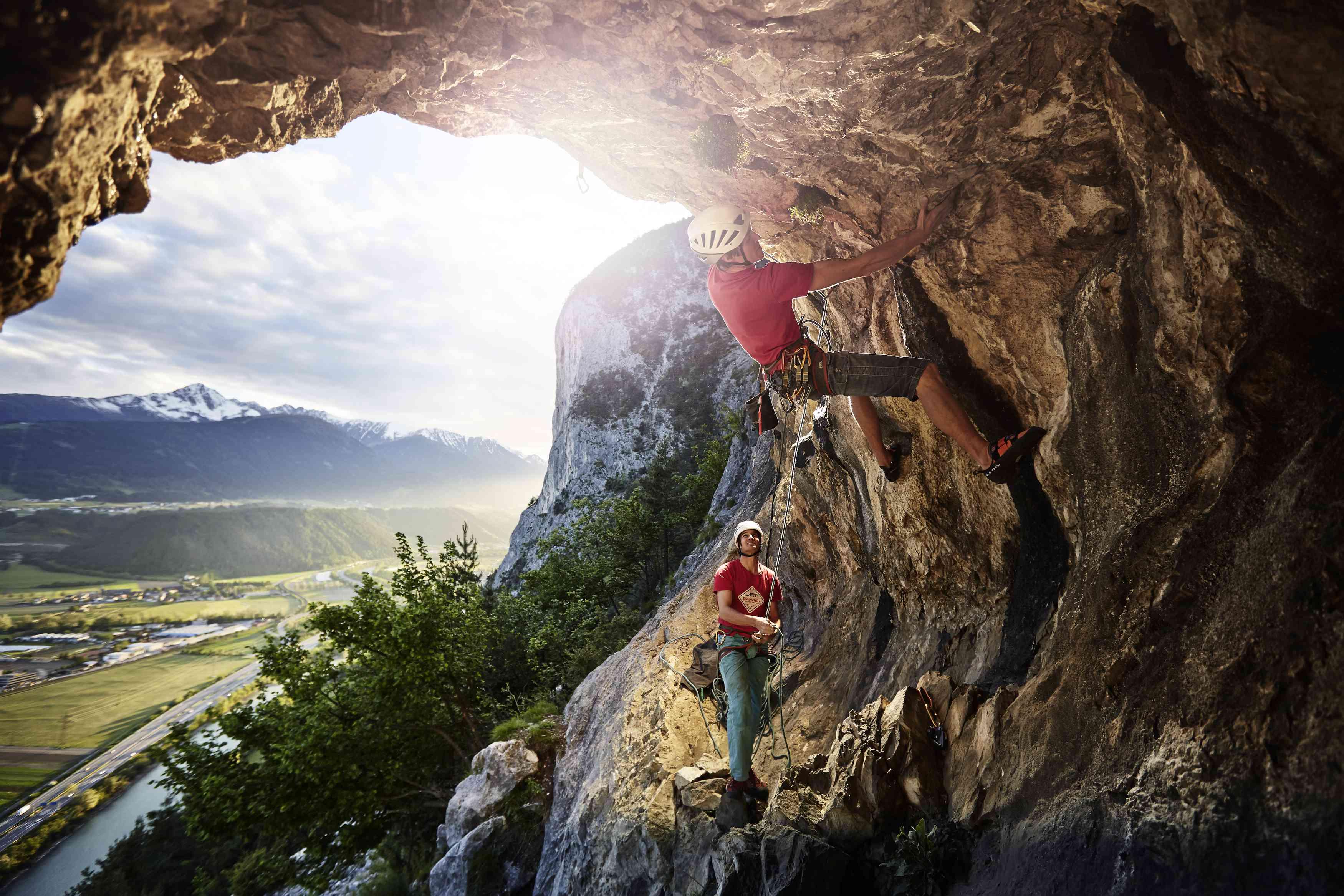 Rock climber on a curved wall in Innsbruck, Austria