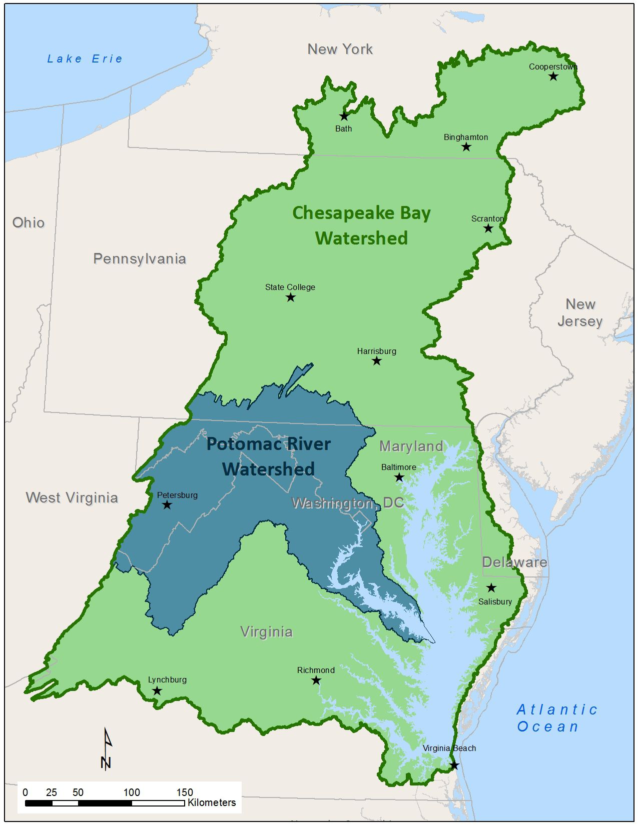Potomac River MapPotomac River Map With States