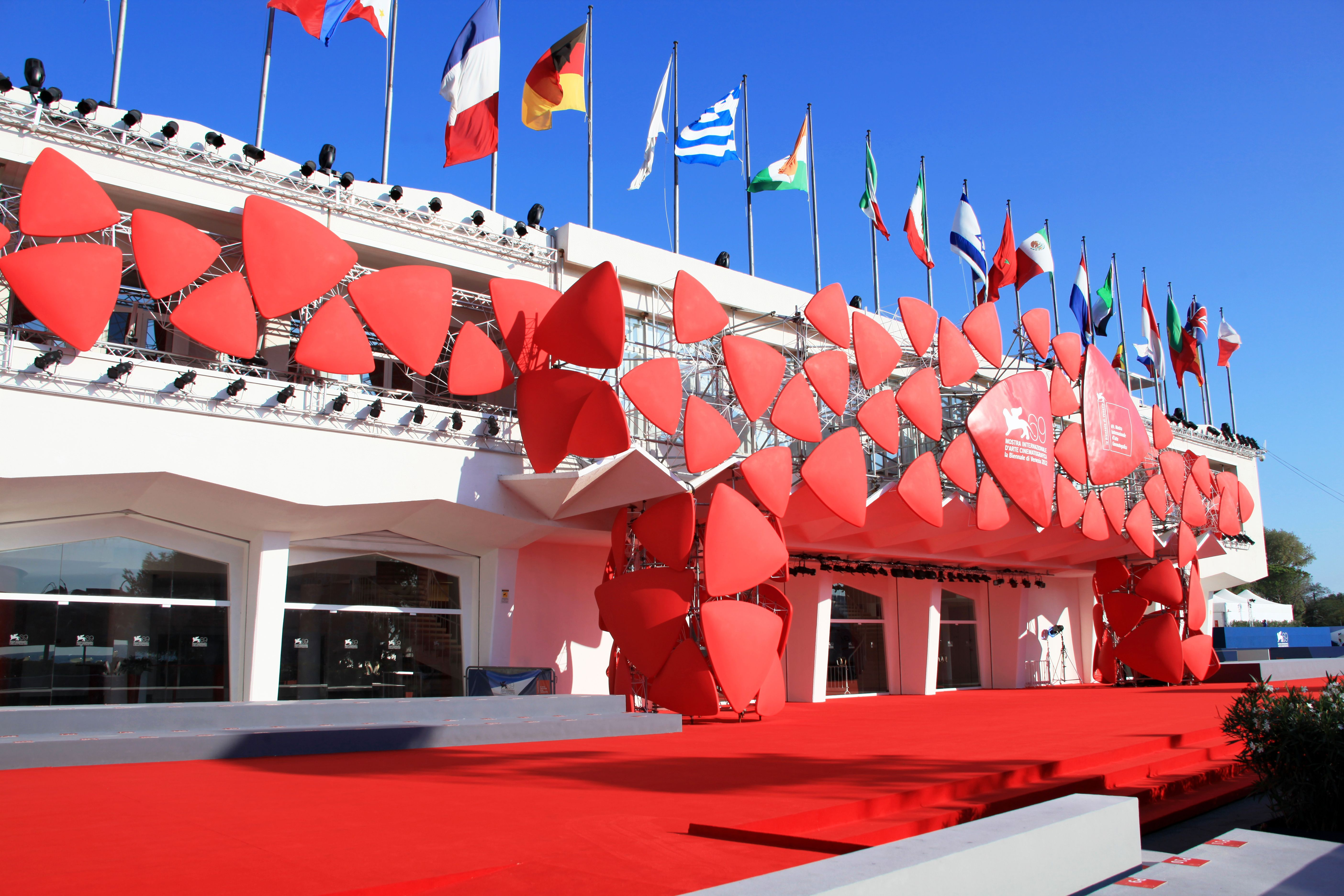Close-up of the empty Red Carpet area at 69th Venice Film Festival in Venice, Italy.