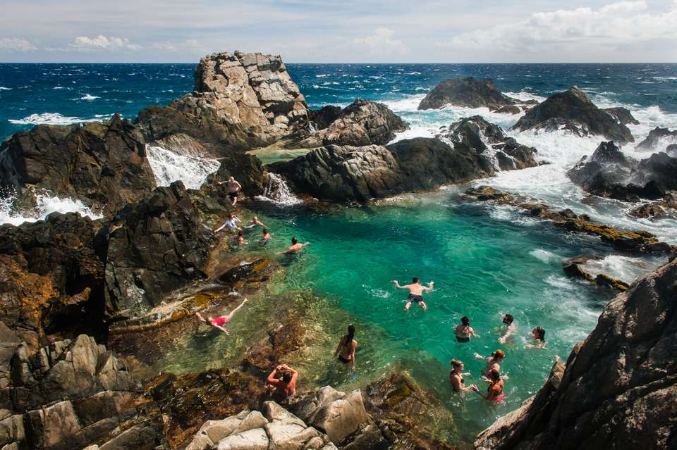 Natural Pool in Arikok National park on the North coast of Aruba