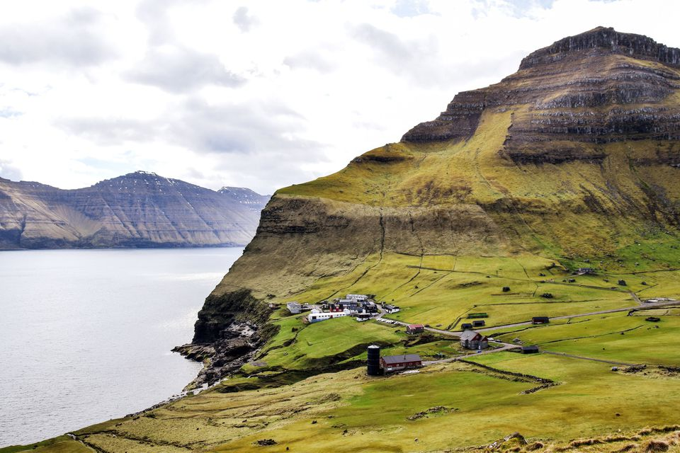 Rolling green hills on the faroe islands