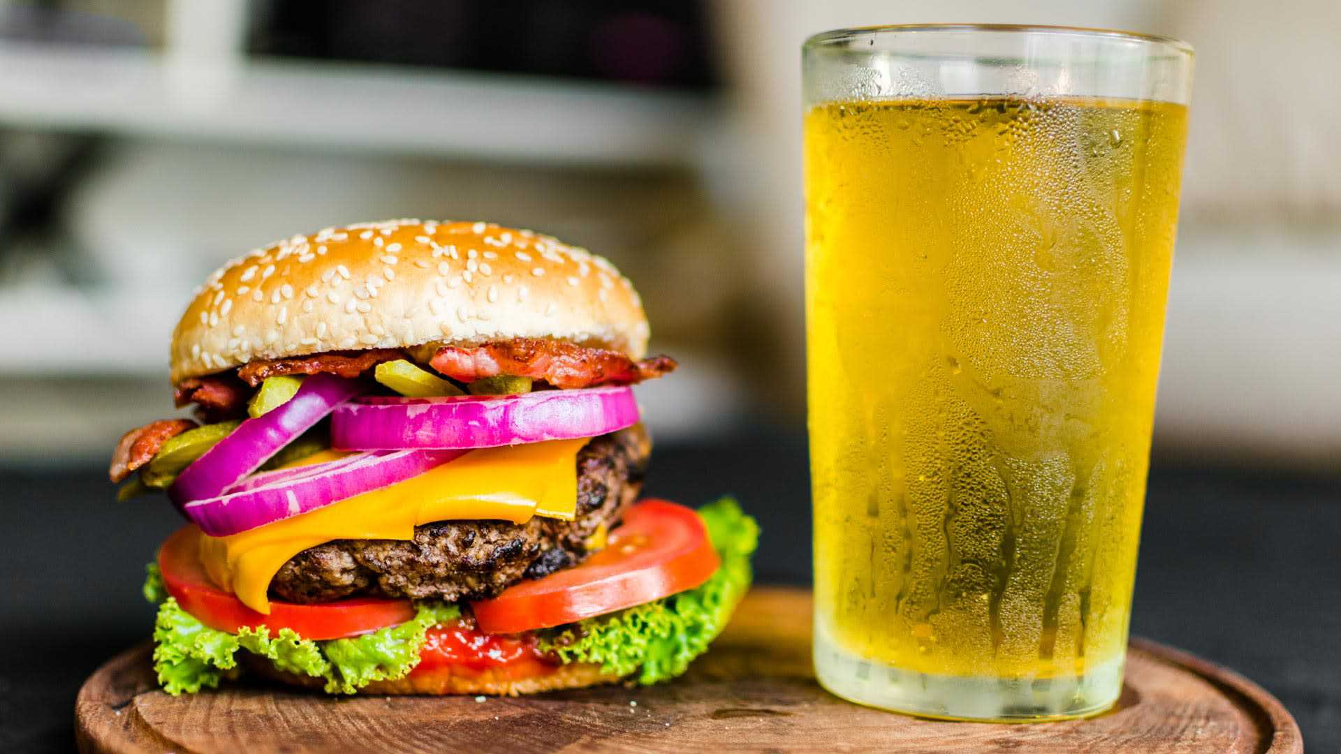 Loaded cheeseburger and beer from Rock Bottom Restaurant & Brewery