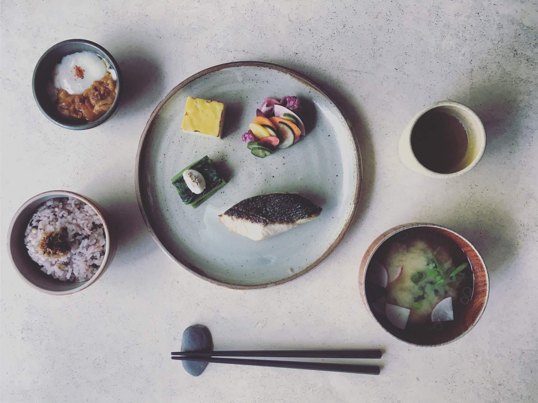 A traditional Japanese breakfast at Okonomi