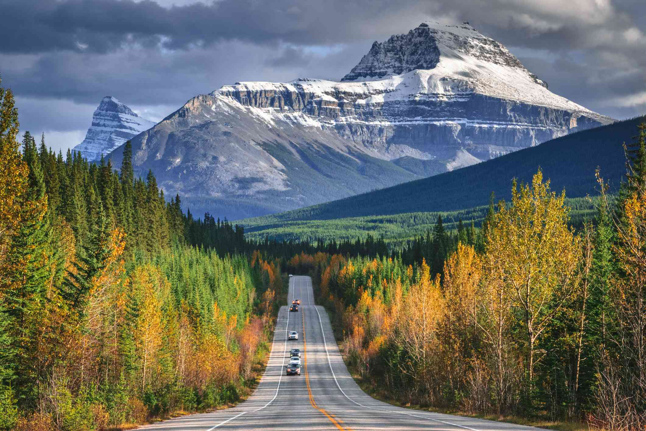 Autumn Drive In Canadian Rockies, Icefields Parkway, Alberta, Canada