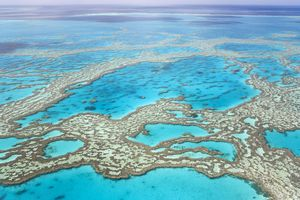 View of the great barrier reef from above