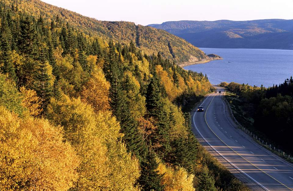 Cars travel a coastal road in Newfoundland, CA
