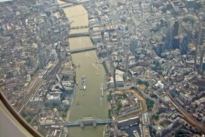 A view of central London and the Thames.