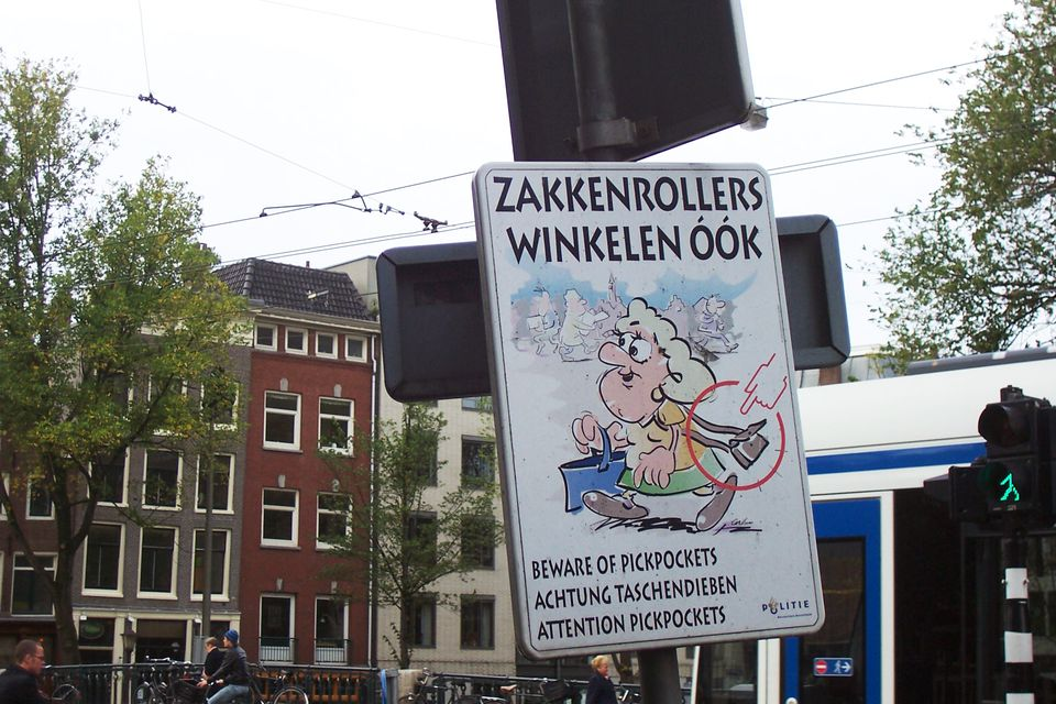 Amsterdam pickpocket sign