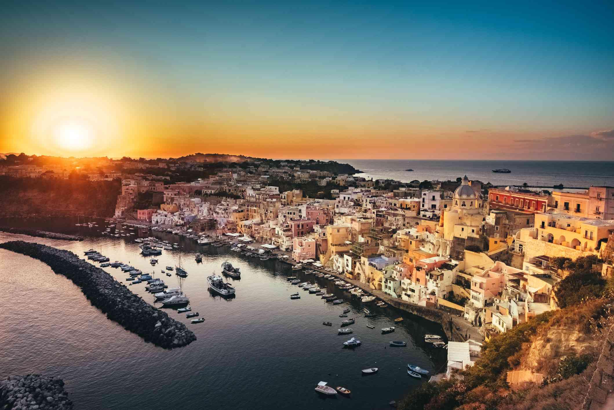 Sunset over the Marina Corricella, Procida island, Italy