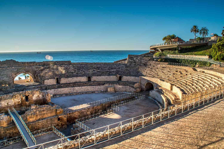 Roman amphitheater by the beach in Tarragona, Spain