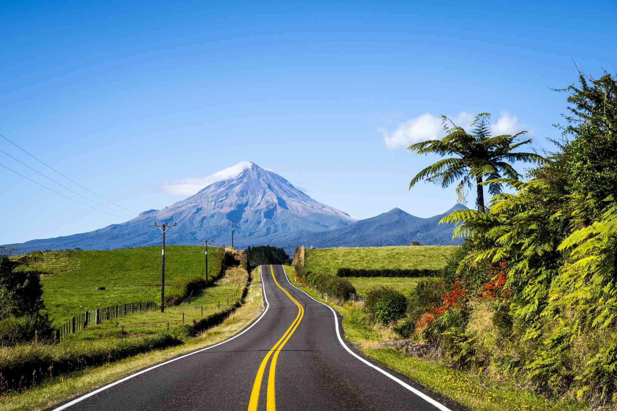 Scenic view of mount Taranaki in New Zealand