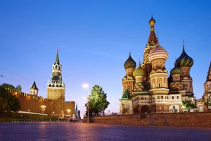 a sunset shot of St. Basil's Cathedral in The Red Square, Moscow, Russia